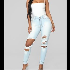 Fashion nova light ripped jeans